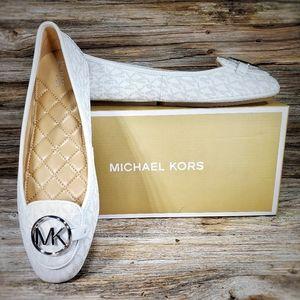 Michael Kors Lillie Moc Bright White Logo Flats